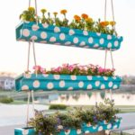 painted hanging gutter garden